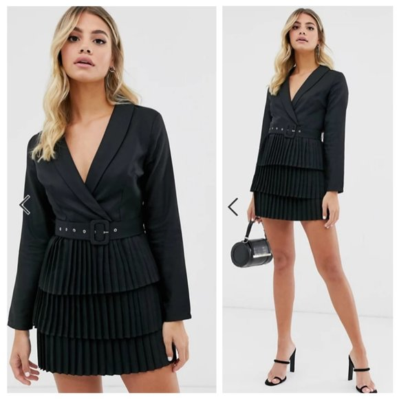 NWT ASOS Black Blazer Plunge Pleated Dress